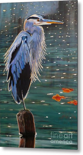 Heron In Blue Metal Print