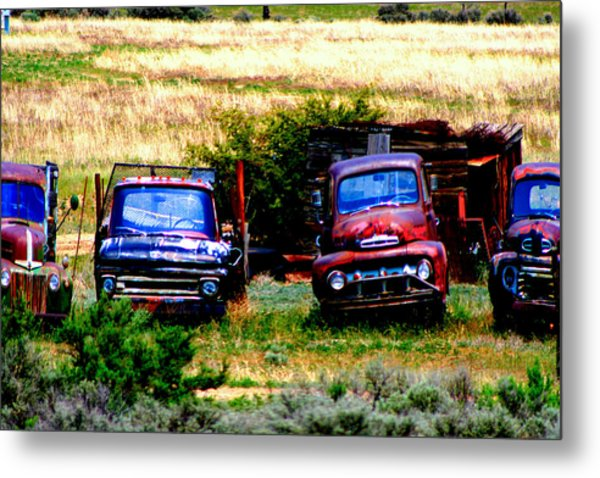 Hill Billy Used Auto Sales Metal Print by Andrea Camp