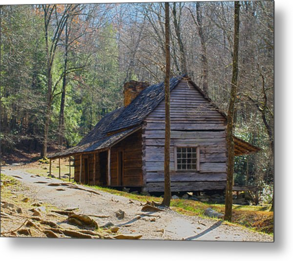 Historic Cabin On Roaring Fork Motor Trail In Gatlinburg Tennessee  Metal Print