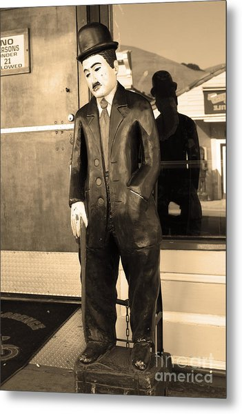 Historic Niles District In California Near Fremont . Charlie Chaplin Statue At The Florence Bar . Se Metal Print by Wingsdomain Art and Photography