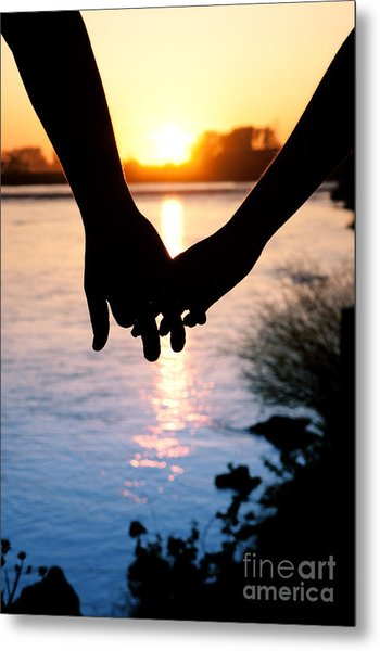 Holding Hands Silhouette Metal Print