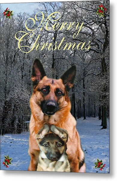 Premise Indicator Words: Holiday German Shepherd And Puppy Mixed Media By Eric Kempson