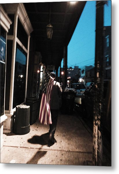 Homeless Man Carrying American Flag In New Orleans Metal Print