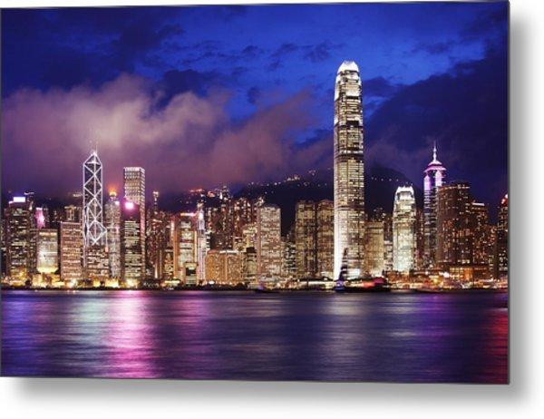 Hong Kong At Night Metal Print by Dan Breckwoldt