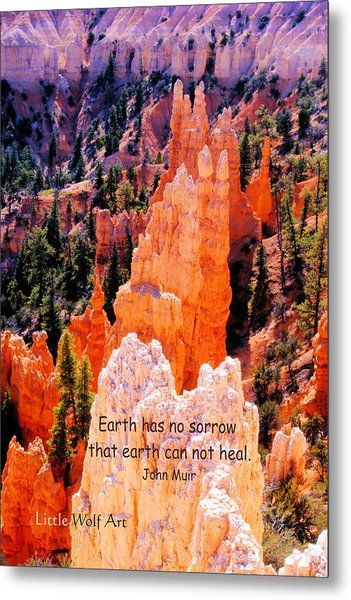 Hoodoos Of Farieland Canyon With John Muir Quote Metal Print