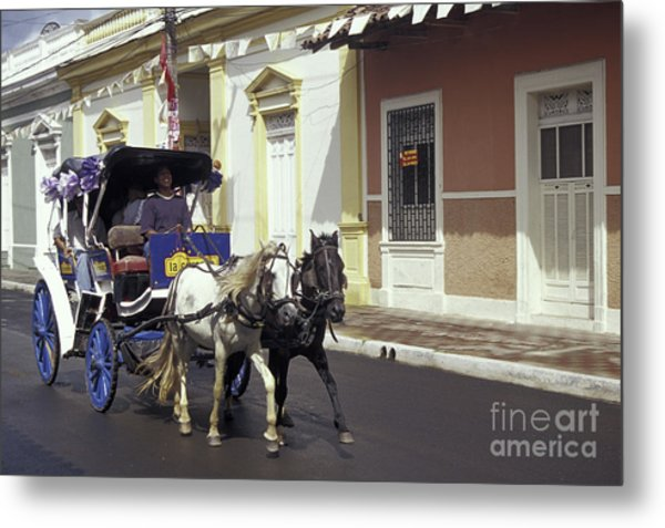 Horse And Carriage Granada Nicaragua Metal Print by John  Mitchell