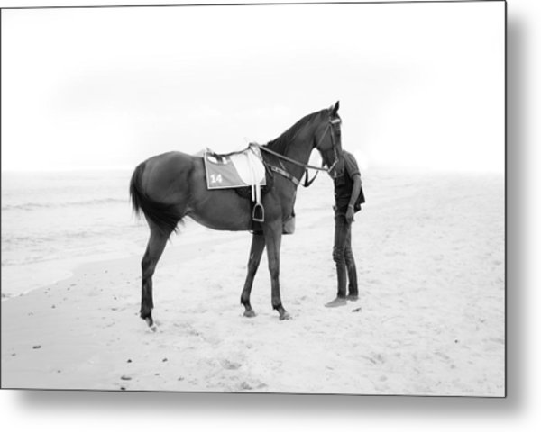 Horse And Man On The Beach Black And White Metal Print by Kittipan Boonsopit