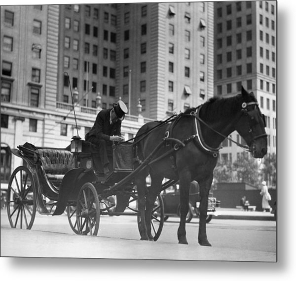Horse Drawn Carriage, Nyc Metal Print by George Marks