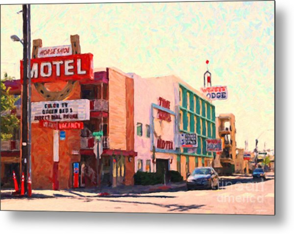 Horse Shoe Motel Metal Print by Wingsdomain Art and Photography