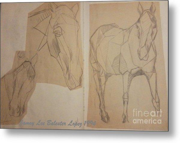 Horse Study Sketchbook Metal Print by Jamey Balester