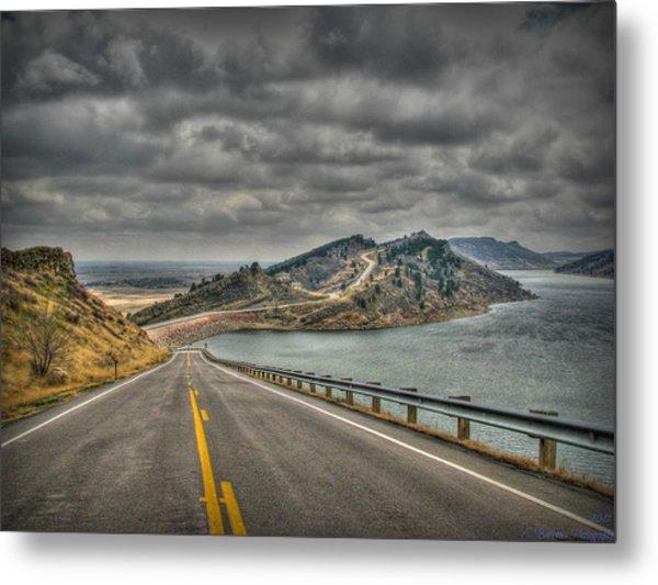 Horsetooth Reservoir Stormy Skies Hdr Metal Print