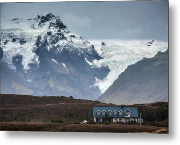 House Mountain And Glacier Metal Print