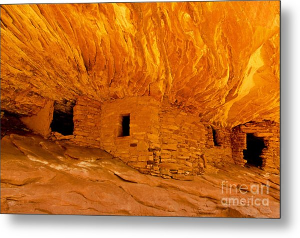 House On Fire Ruin Metal Print