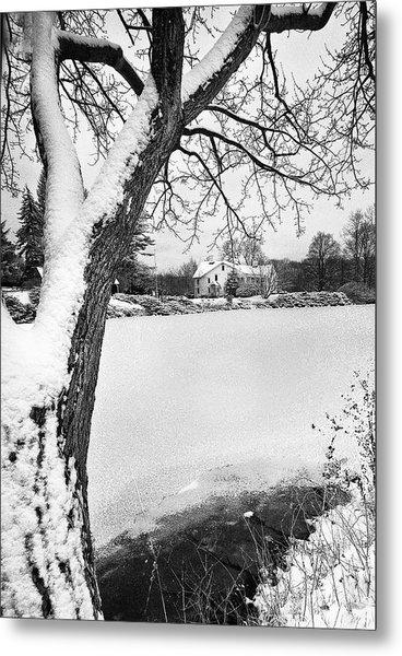 House On Frozen Lake Metal Print by Ercole Gaudioso