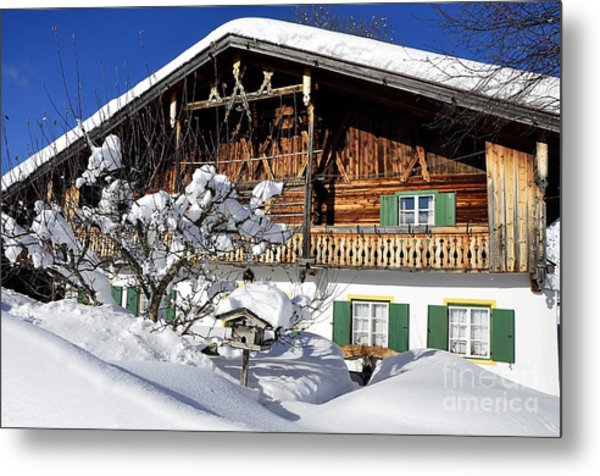 House Under Heavy Snow In Alps Metal Print