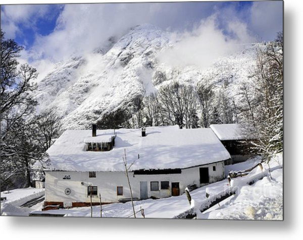 House Under The Alpine Peak Metal Print