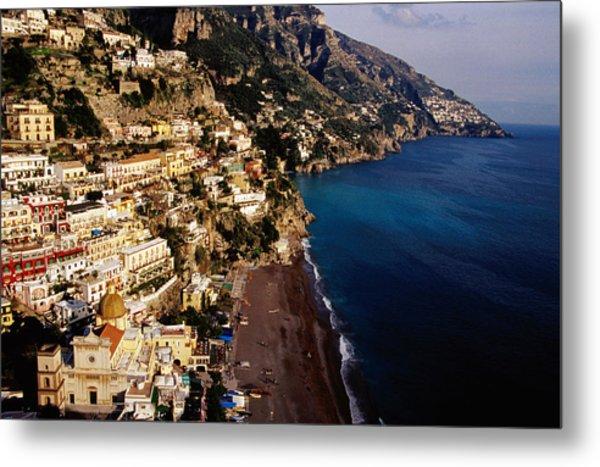 Houses And Church Of Santa Maria Assunta Above Spaggia Grande Beach, Positano, Italy Metal Print by Craig  Pershouse