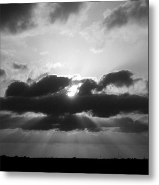 Houston Sunset In Black And White Metal Print