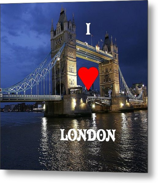 I Love London Metal Print by Florene Welebny