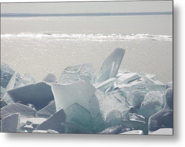 Ice Chunks On The Shores Of Lake Metal Print
