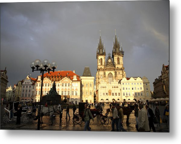 Iconic Old Town Medieval Houses Facades And Tourists Old Town Square Metal Print by Christer Fredriksson