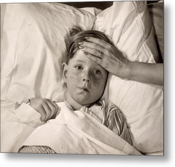 Ill In Bed Metal Print by Victor Keppler