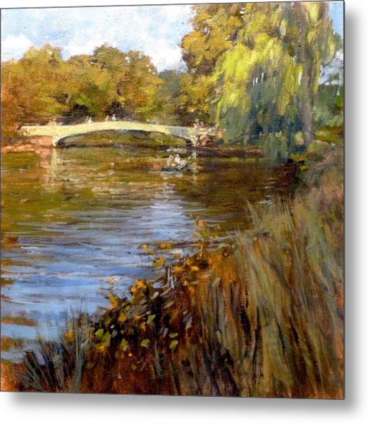 In Central Park - Summer Afternoon Near Bow Bridge Metal Print