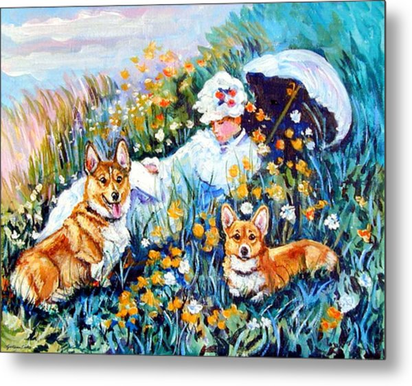 In The Field With Corgis After Monet Metal Print