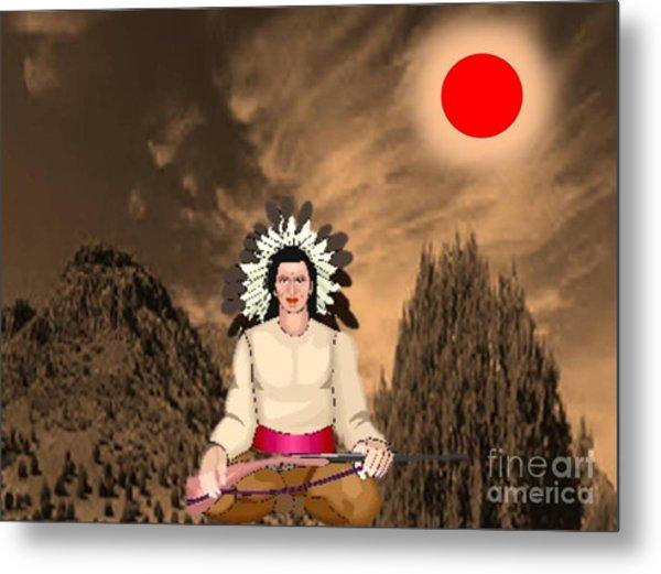 Sitting Bull Metal Print by Belinda Threeths