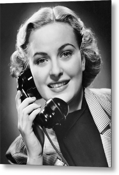 Indoor Portrait Of Woman On Telephone Metal Print by George Marks