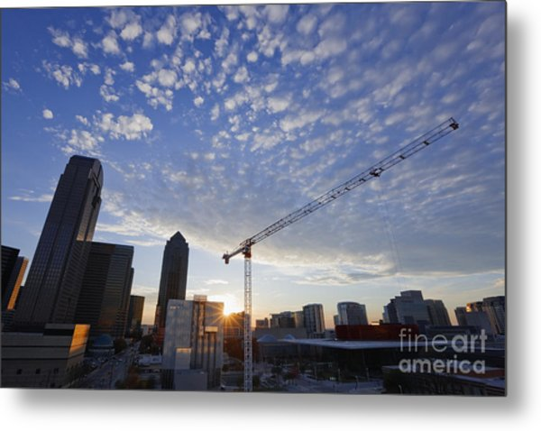 Industrial Crane Within City Skyline Metal Print by Jeremy Woodhouse