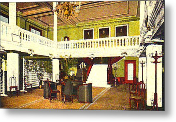 Interior Of The Acacia Club In Williamsport Pa In 1910. Metal Print by Dwight Goss