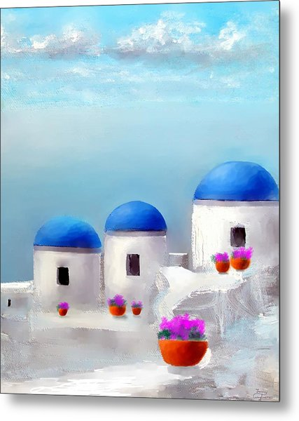Into The Heavens Santorini Metal Print