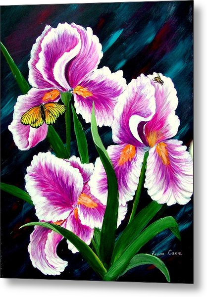 Iris And Insects Metal Print