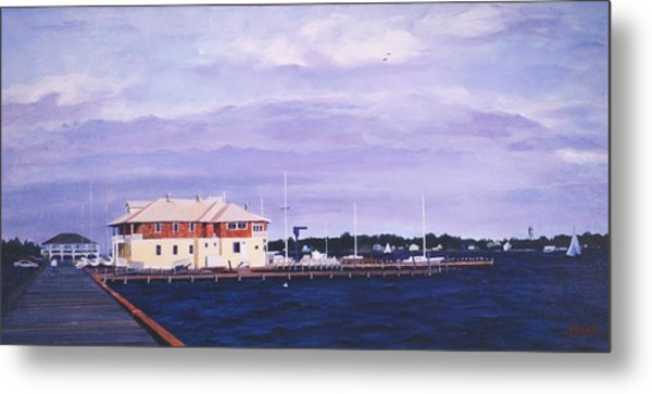 Metal Print featuring the painting Island Heights Yacht Club by Robert Henne