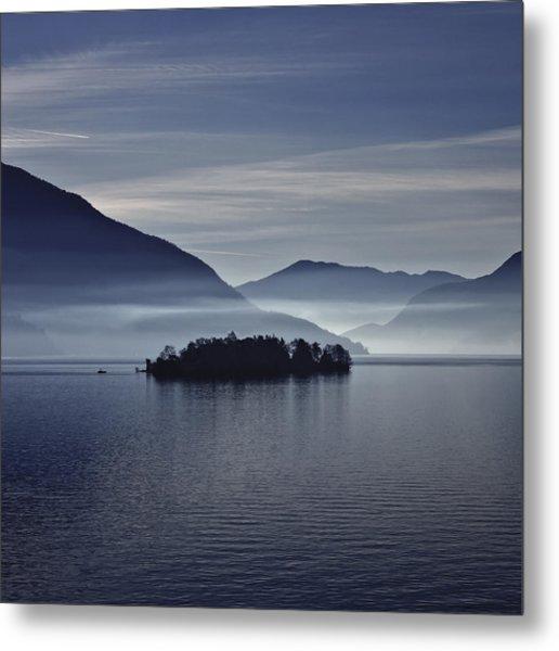 Island In Morning Mist Metal Print