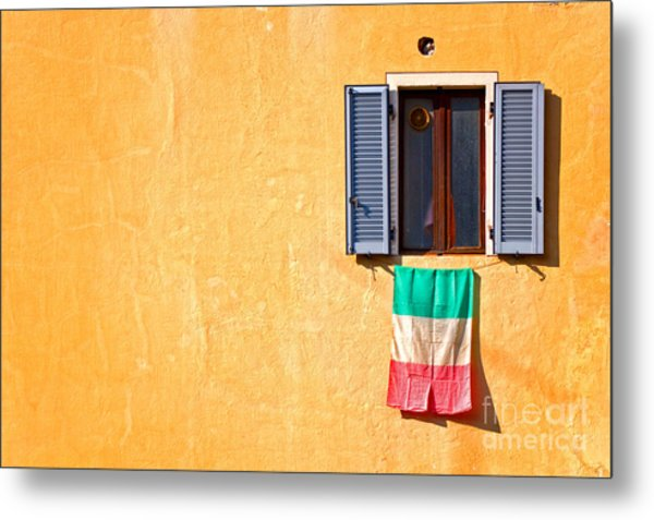 Italian Flag Window And Yellow Wall Metal Print