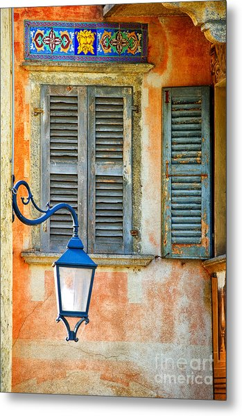 Italian Street Lamp With Window And Decorated Wall Metal Print