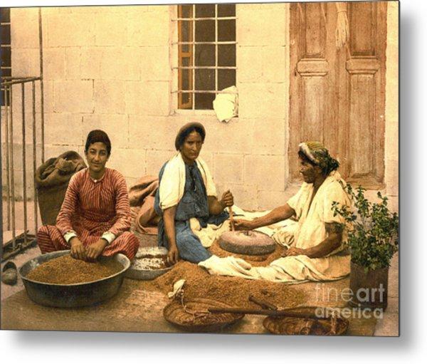Jerusalem Women Grinding Corn 1895 Metal Print by Padre Art