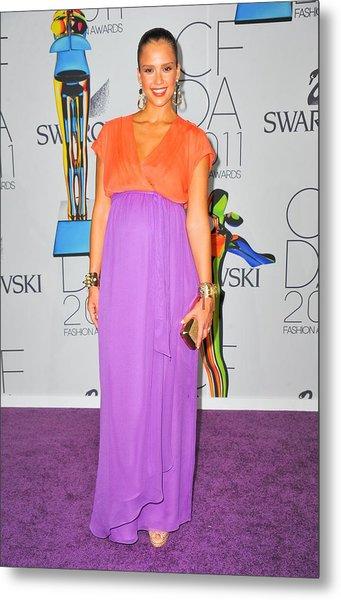 Jessica Alba Wearing A Custom Diane Von Metal Print