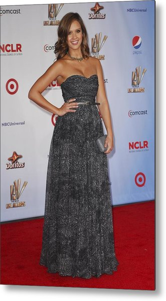 Jessica Alba Wearing A Dress By Michael Metal Print