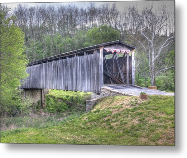 Johnson Creek Covered Bridge Metal Print
