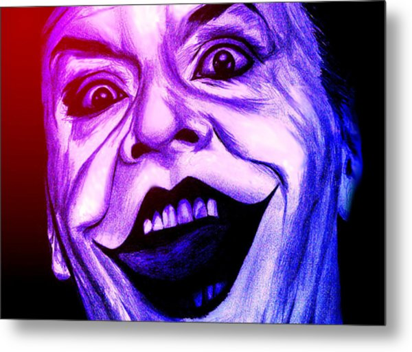 Joker Neon Metal Print by Michael Mestas
