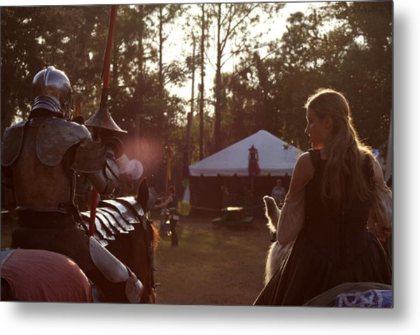 Joust One Knight Metal Print by Sean Green