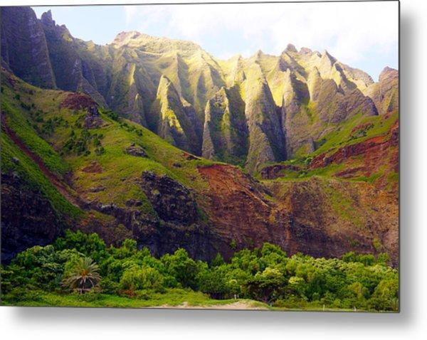Kalalau Beach Mountains Kauai Metal Print by Kevin Smith