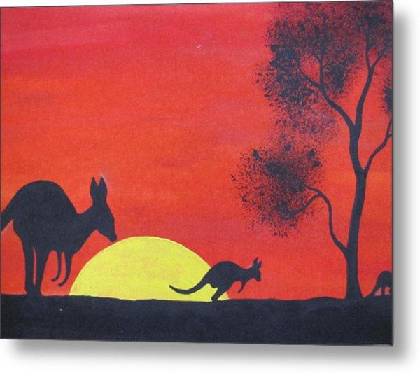 Kangaroo Sunset  Metal Print by Courtney Adams