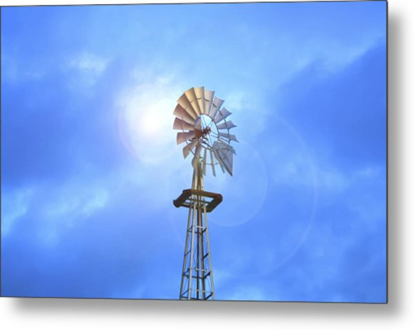 Kansas Windmill In The Sun Metal Print