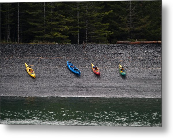 Kayak Shore Metal Print