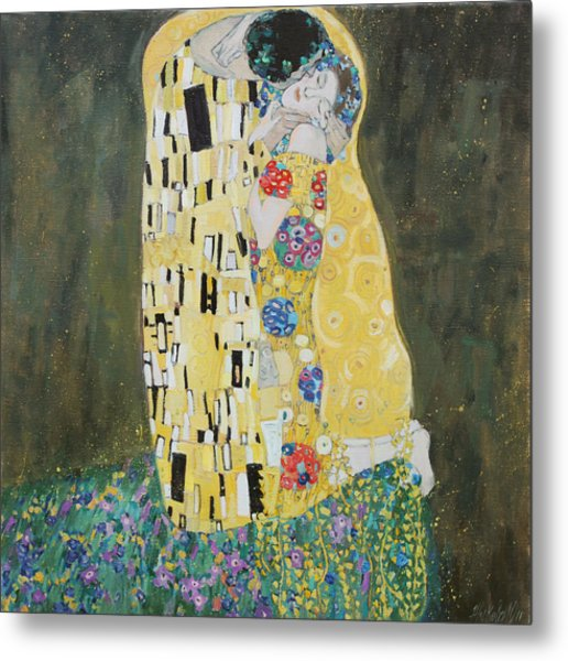 Kiss Copy Of Gustav Klimt Metal Print