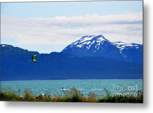 Kitesurfing In Alaska Metal Print by Tanya  Searcy